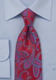 Modern Red Paisley Tie
