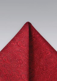 Tonal Red Paisley Pocket Square