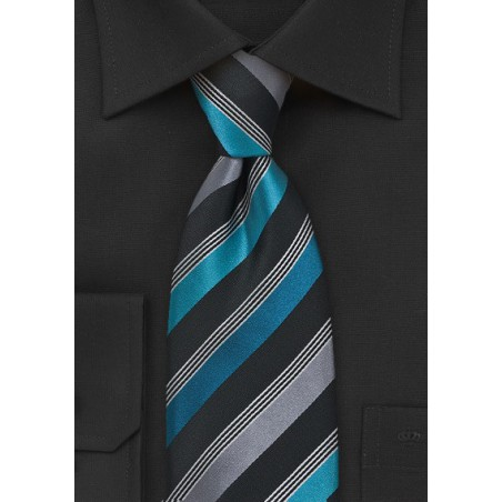 Striped Tie in Teal and Black