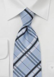Plaid Tie in Pool Blue