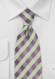 Modern Plaid Tie in Green and Purple