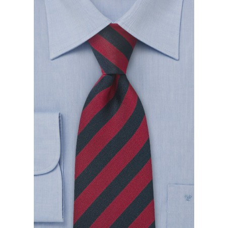 Repp Textured Red and Navy Tie
