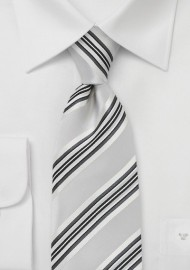 Striped Tie in Soft Silver