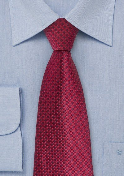Red and Purple Square Patterned Tie
