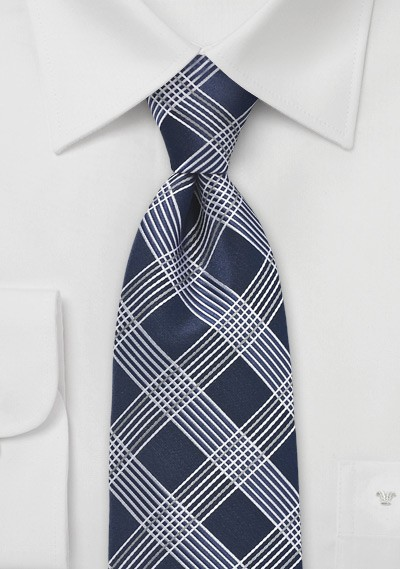 Savvy Navy Blue and Silver Patterned Tie