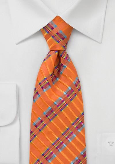 Vibrant and Modern Tie in Tangerine Orange