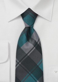 Large Plaid Tie in Charcoal and Teal
