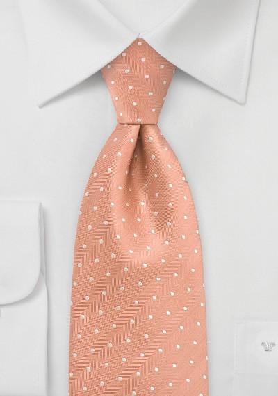 Peach Orange Polka Dot Silk Tie
