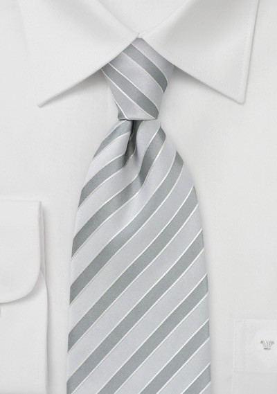 Light Silver Striped Tie