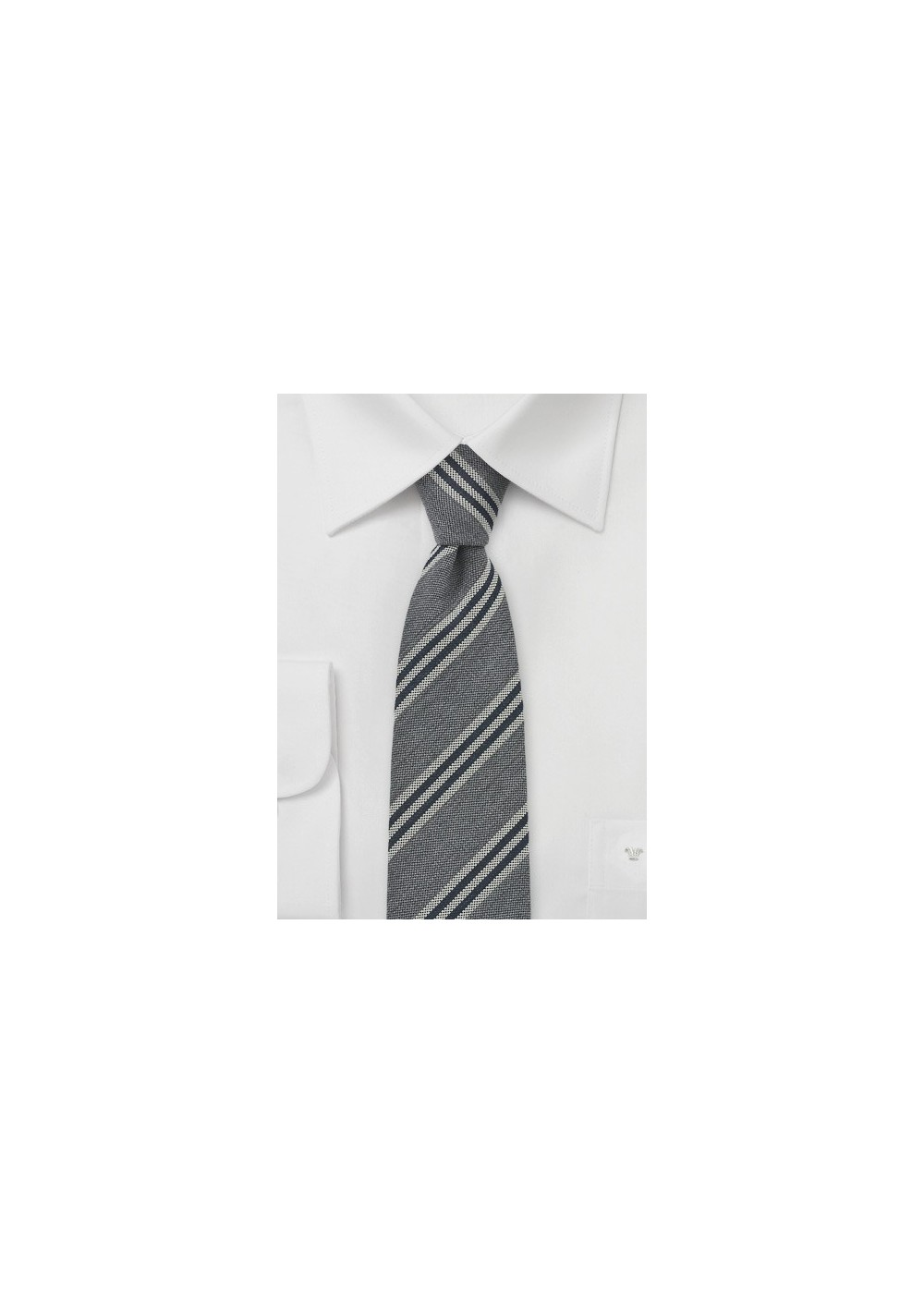 Skinny Striped Tie in Grays and Black