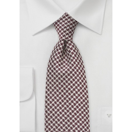 Handwoven X Patterned Tie in Chestnut