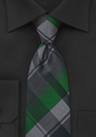 Modern Plaid Tie in Black and Spring Greens