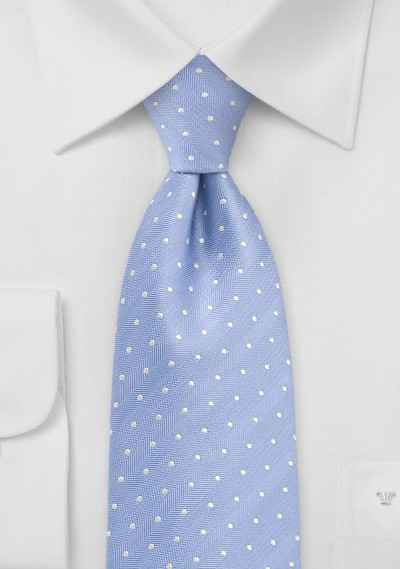 Modern Polka Dot Tie in Soft Blue