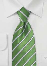 Organic Green and White Striped Tie in Kids Size