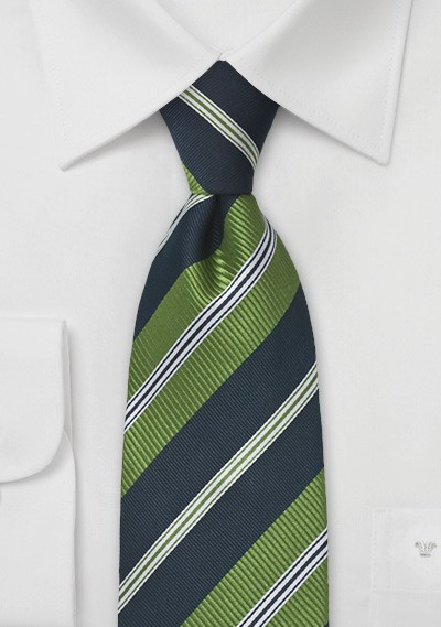 Wide Striped Tie in Citrus Green and Navy