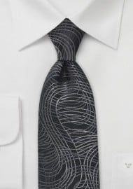 Modern Swirl Tie in Black and Charcoal