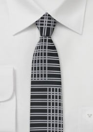 Art Deco Skinny Tie in Black and Silver