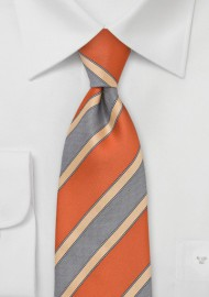 Modern Striped XL Length Tie in Orange