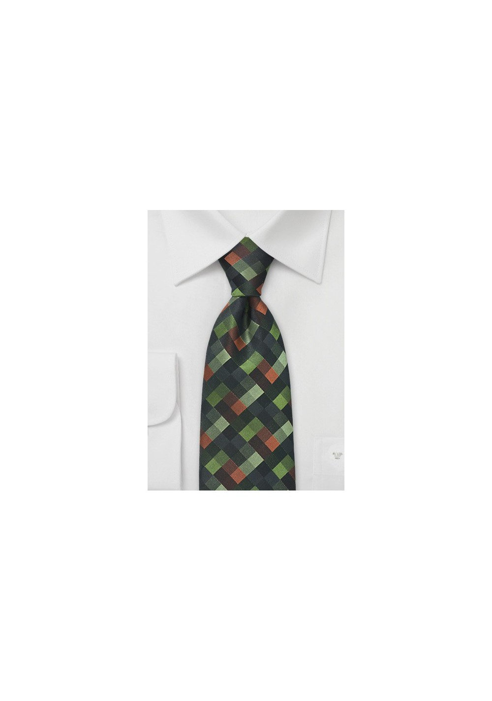 Patchwork Tie in a Palette of Autumn Greens