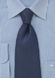 Micro Houndstooth Check Tie in Dark Navy