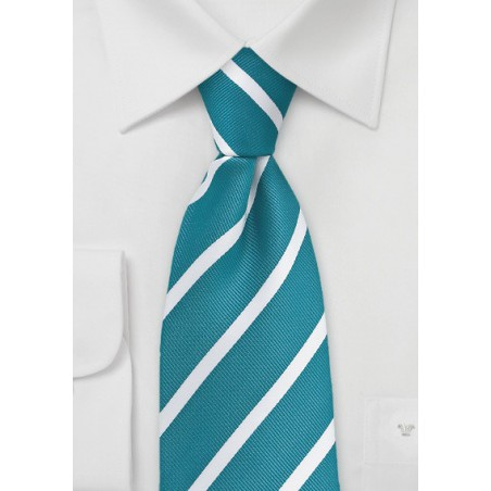 Rich Teal and White Striped Tie