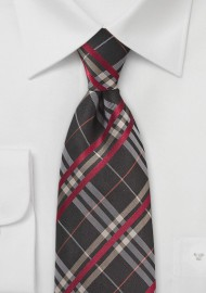 Plaid Tie in Espresso Brown and Red
