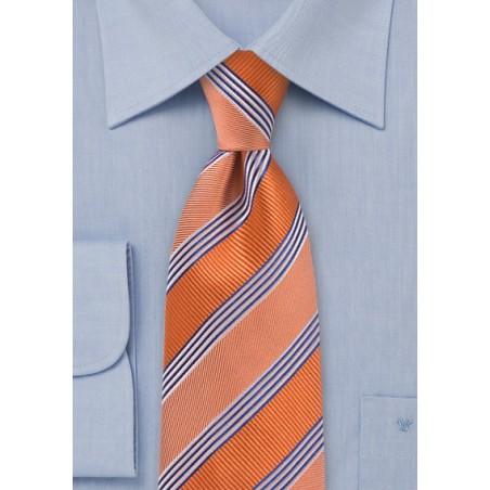 Vivid Tangerine Striped Tie