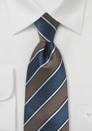 Sophisticated Tie in Blue and Bronze