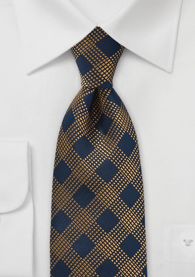 Diamond Patterned Tie in Blue and Copper
