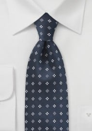 Diamond Motif Tie in Midnight Blue