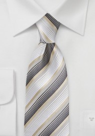 Striped Tie in Whites, Golds and Charcoals