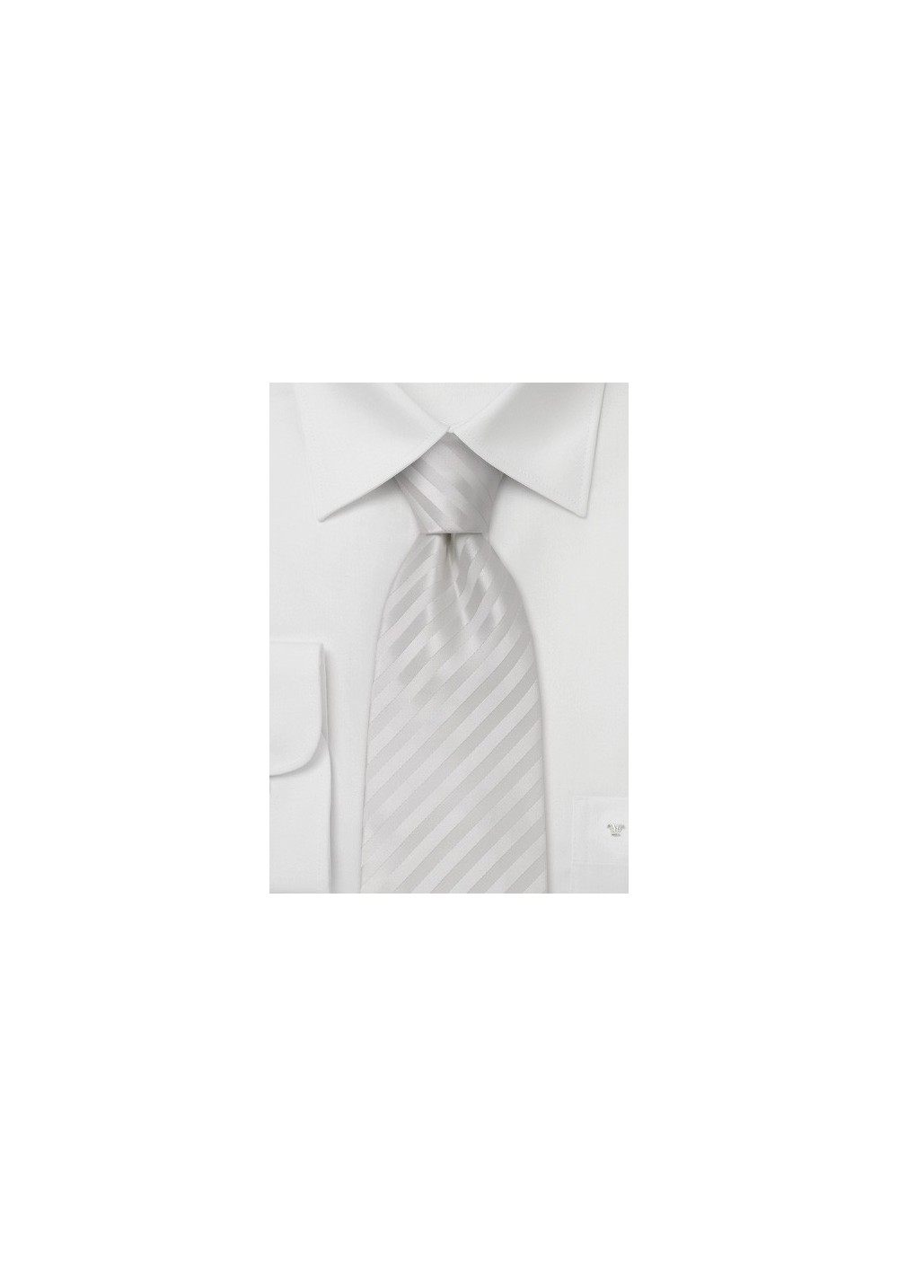 Elegant White Kids Length Necktie