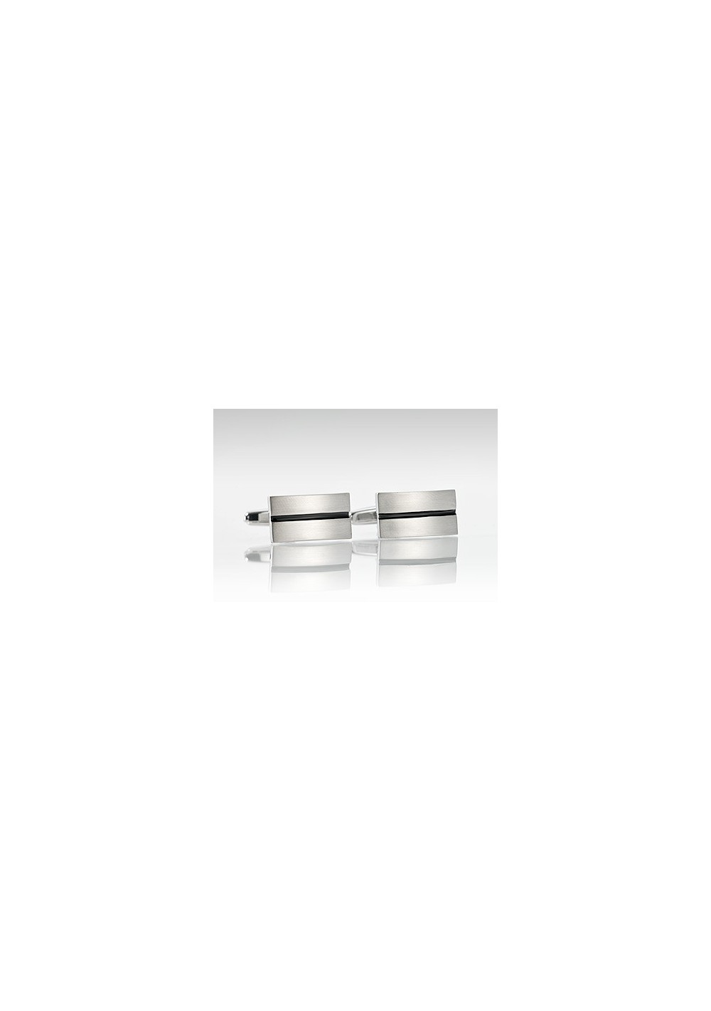 Stainless Steel Cufflinks with Black Resin Center Stripe