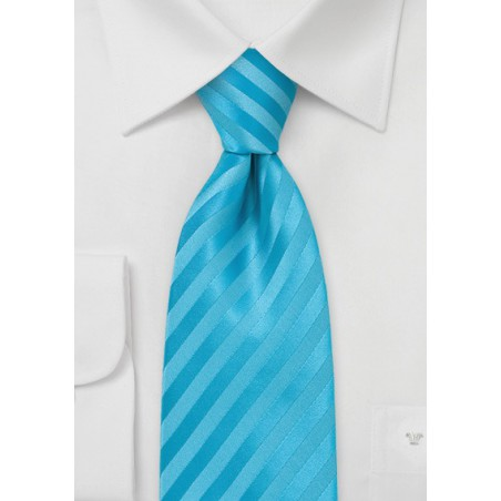 Aqua Blue Stripe Necktie for Kids