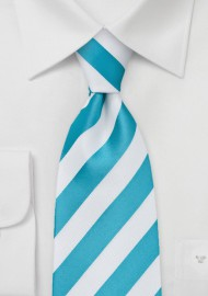 Extra Long Tie in Mermaid Teal and White