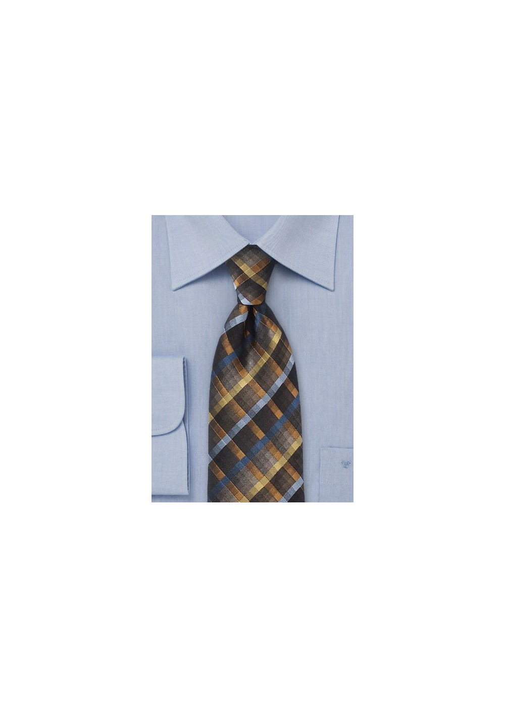 Intricate Diamond Patterned Tie in Black and Bronzes