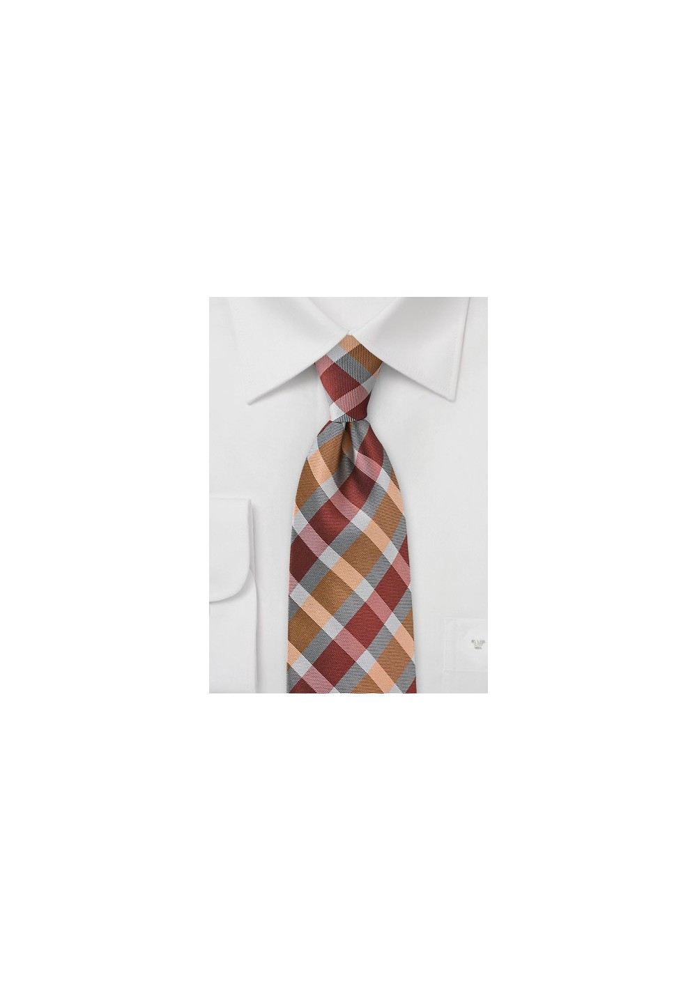 Modern Tie in Persimmon Oranges and Greys