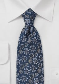 Navy Blue Tie with Embroidered Flowers