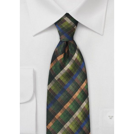 Plaid Textured Tie in Dark Winter Greens