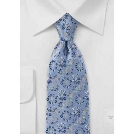 Vintage Blue Tie with Flowers