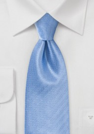 Feather Patterned Tie In Cornflower Blue