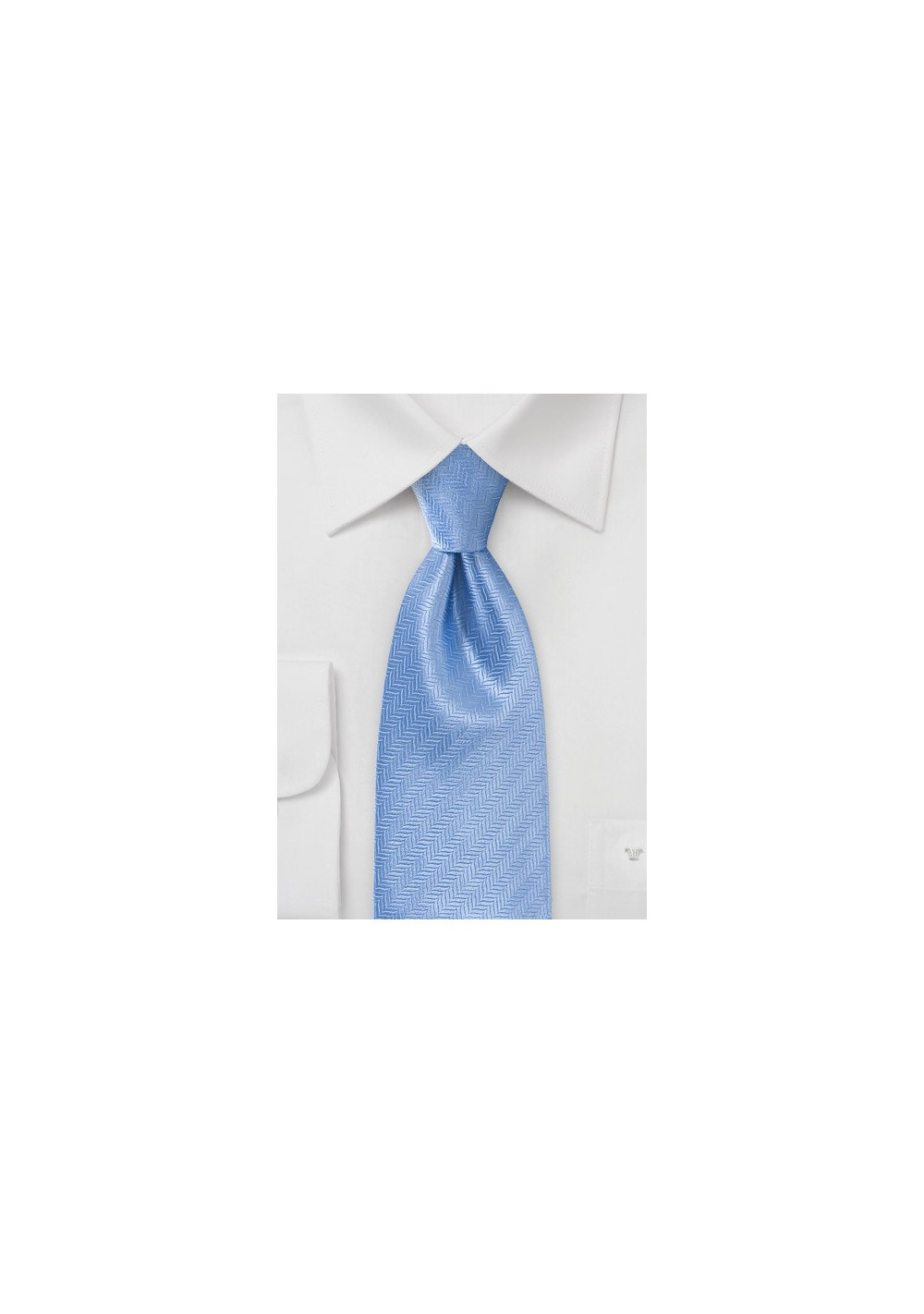 Feather Patterned Tie In Cornflower Blue