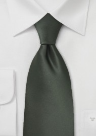 Dark Green Mens Necktie in Long Length