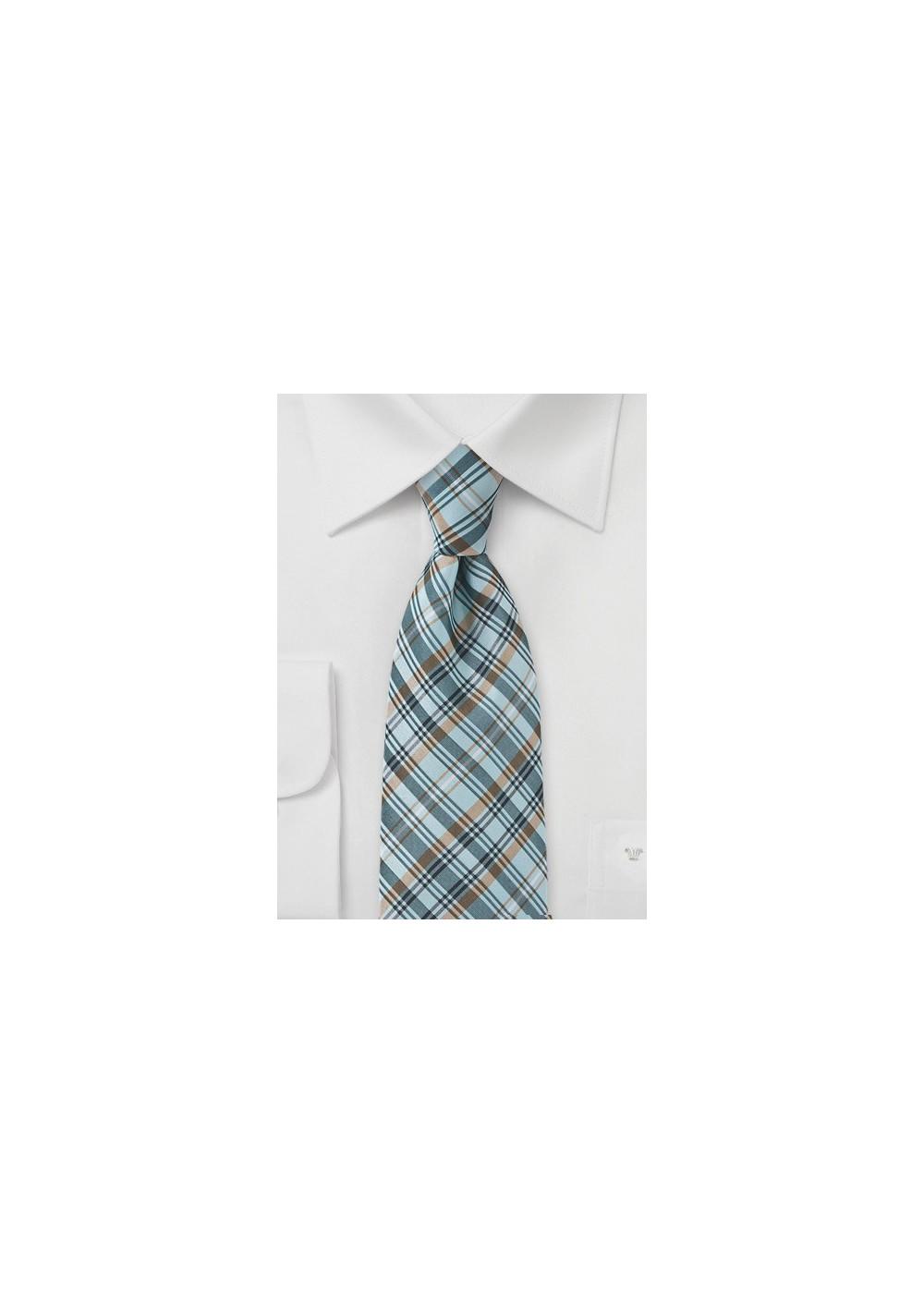 Plaid Tie in Muted Aqua