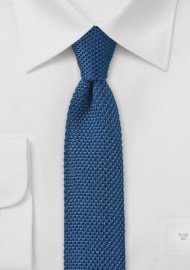 Knitted Tie in Marine Blue