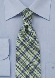 Modern Plaid Tie in Fresh Greens