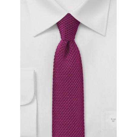 Dark Magenta Pink Knitted Silk Tie