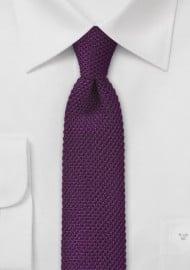 Modern Purple Knitted Skinny Tie