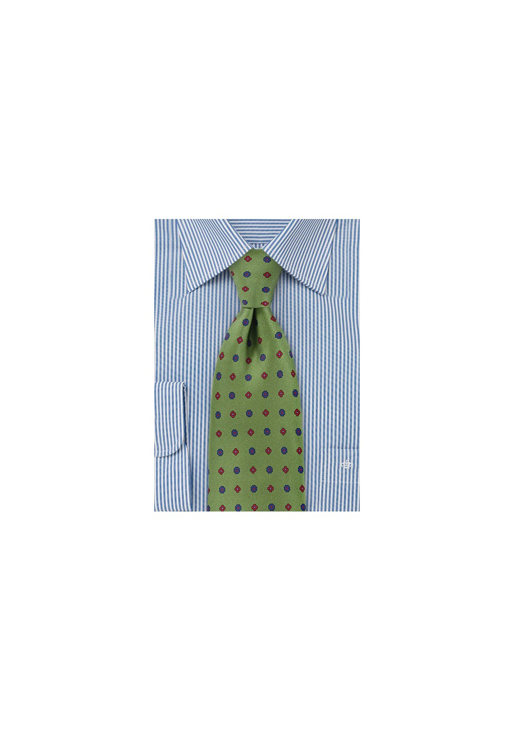 Retro Floral Grid Tie in Olive Green