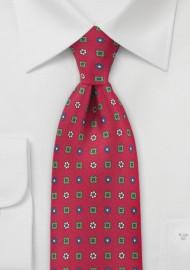 Bright Emblem Tie in Reds